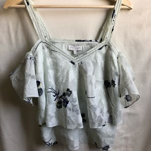 Lucky Brand Floral Cold Shoulder Cropped Top